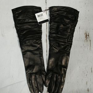 Coach Long Leather Ruched Gloves Black